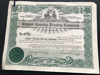 3 Copper Country Printing Company Stock Certificates Michigan 1930 & 1943