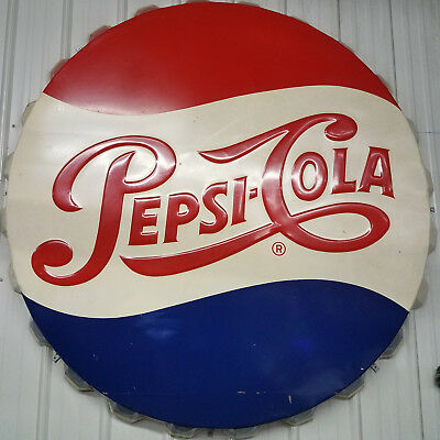 "Pepsi Bottle Cap Sign - 68"" - RARE 1950s original - in exceptional shape"