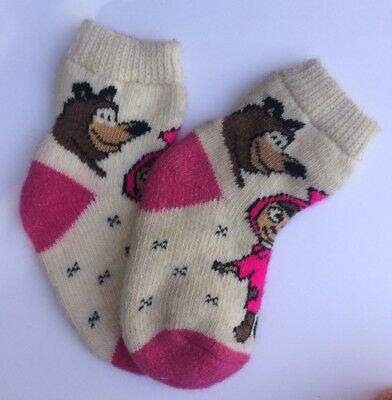 Knitted Sheep wool Kids socks Thick warm Masha I Medved ( Age 8-10 ) Russia