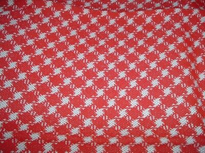 Vtg 70s Retro Red Houndstooth Woven Crafts Tote Upholstery Sew Fabric 16x43 #FQ
