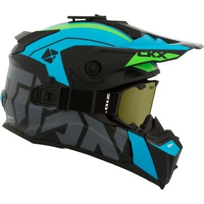 Ckx Titan Altitude Blue Green Modular Snowmobile Winter Helmet Goggle 2018