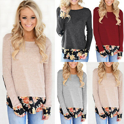 US Stock Fasion Womens Long Sleeve Floral Print Shirt Casual Blouse Cotton Tops