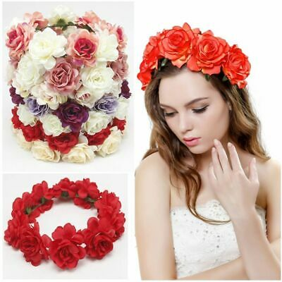 Women Wedding Flower Hair Floral Garland Crown Headband Wreath Hairband Beach