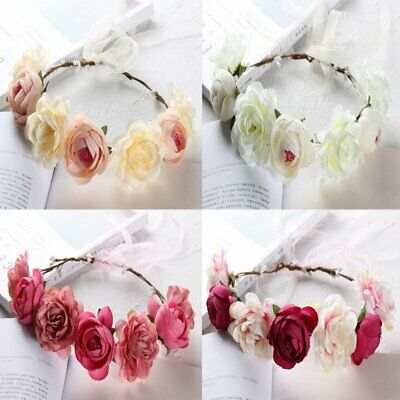 Girl Wedding Flower Hair Headband Garland Crown Floral Wreath Hairband Beach AU