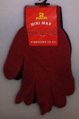 Mini Max 2 Pair Ladies Stretchers Gloves 1 Red & 1 Black One Size A-18