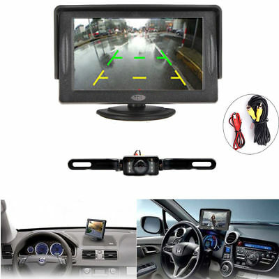 """4.3"""" LCD Car VAN Tricl Monitor Wired Parking Reverse Backup Rear View Camera Kit"""