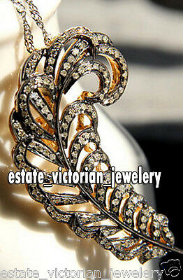 Victorian 3.75Cts Natural Rose Cut Diamond Silver Feather Pendant Brooch Jewelry