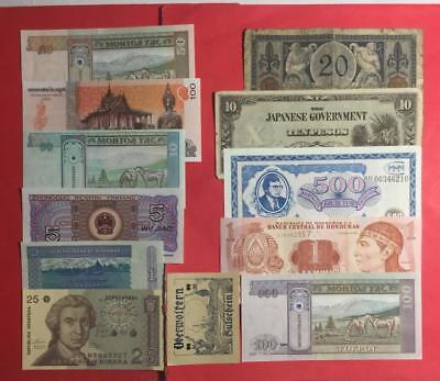 1900s Old World Paper Money CUrrency Collection of 12 Assorted Notes! Currency
