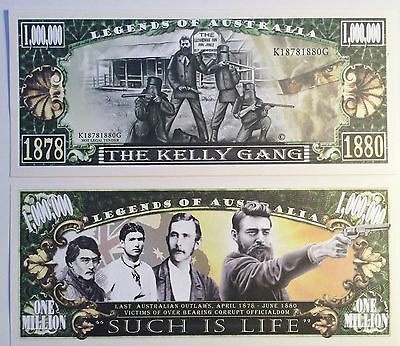 """RARE: """"KELLY GANG"""" Ned Kelly $1,000,000 Novelty Note, M/Cave. Buy 5 Get 1 FREE"""