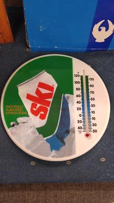 """Vintage Nos Ski Soda Plastic 8"""" Thermometer/sign Showing Can-Original Box-Nice!"""