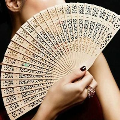 Women Ladies Wooden Sandalwood Hand Fan Wedding Birthdays Partys Gift