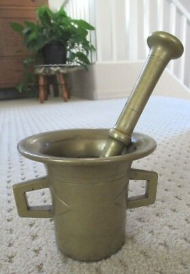 Vintage Large Solid Brass Mortar and Pestle with Handles