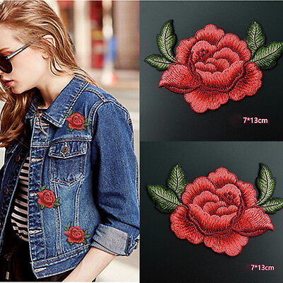 2Pcs Red Rose Flower Embroidery Applique Cloth Sew on Patches Badge Sewing DIY