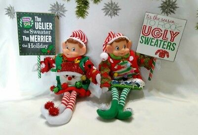 Vintage Style Christmas Elves Pixies Knee Huggers*Ugly Sweater* Signs Lot of 2