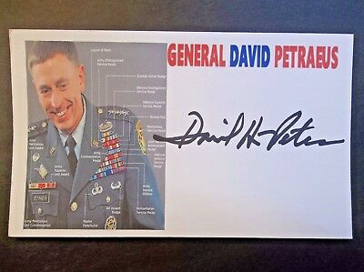 Gen. David Petraeus (War in Afghanistan) Autographed Autographed 3x5 Index Card