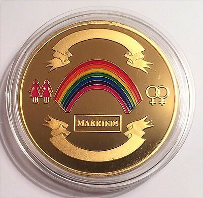 NEW: GAY FEMALE (Lesbian) 1 oz Wedding Celebratory coin 999 24k Gold Plated
