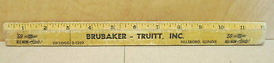 Brubaker Truit '59 Chevrolet Hillsboro ILL ph KE2-5222 Wood Rule 1 Foot Ruler
