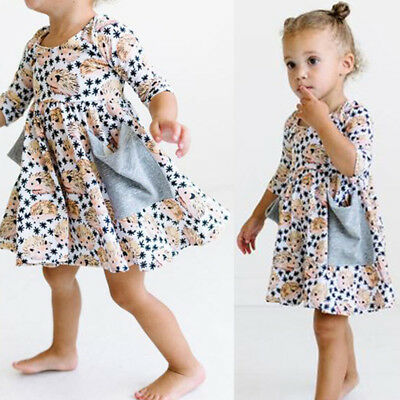 Baby Girls Kids Toddler Hedgehog Casual Dresses Outfit Clothes Dress AU Stock