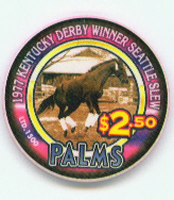 $2.50 Palms 1977 Kentucky Derby Winner Seattle Slew Horse Racing Chip