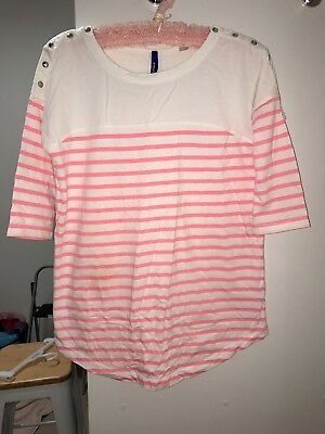 Seraphine Maternity Long Sleeve XS Tshirt Pink & White Stripe