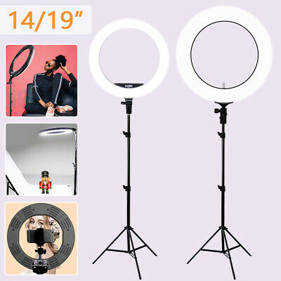 "14''/19"" 5500K Dimmable Diva LED Ring Light Diffuser Stand Make Up Studio & BAG"