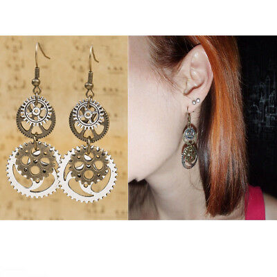 Steampunk Earrings Antique Bronze Gears Jewellery Gorgeous Silver Plated Jewelry