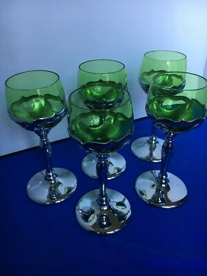 Vintage Cambridge Farber Bros.Emerald Green Glass Chrome Cordial Glasses Lot 5
