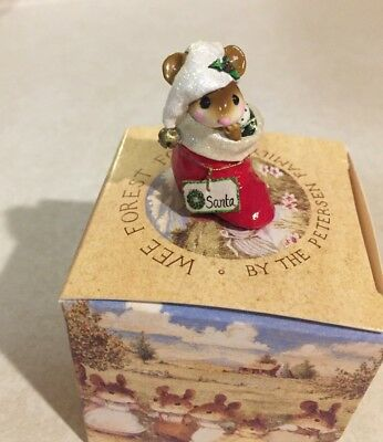 Wee forest folk christmas MOUSE IN STOCKING