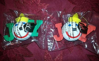 """Jack in the Box Set of Two Red & Green """"Joy"""" Antenna Ball / Tree Ornaments"""