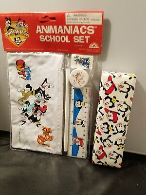 RARE VINTAGE 1995 ANIMANIACS PINKY SCHOOL SET PENCIL CASE ERASER rare vintage