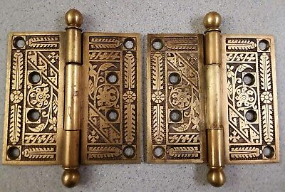 "TWO Victorian Eastlake Antique Ornate Floral Door Hinges 4"" - Brass - Ball"