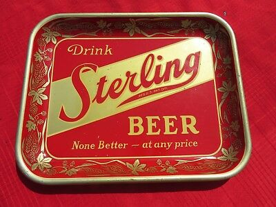 Nice Vintage Sterling Beer Tray-None Better at any Price- Man Cave- Bar