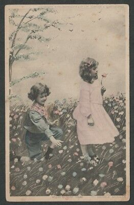 """e408)            EARLY 1900's POSTCARD SERIES No 5453    """"WHAT'S THE TIME"""""""