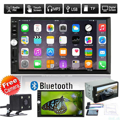 """Black 7"""" LCD Bluetooth Stereo 2DIN Car DVD Player Touchscreen with Backup Camera"""