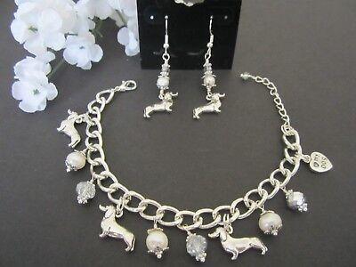 Dachshund Wiener Dog Charm Bracelet & Earrings with F. Water Pearls &  Crystals