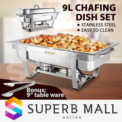 Chafing Dish Bain Marie Bow Stainless Steel Buffet Warmer Stackable Set 9L
