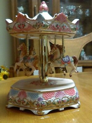 Home Interiors Carousel of Dreams Merry go Round Horses Vintage Porcelain White