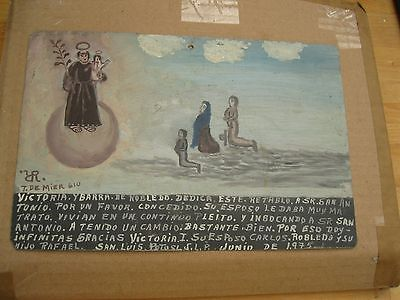 Ooriginal Vintage Exvoto/ Retablo On Tin Woman Thanking San Antonio For Favor