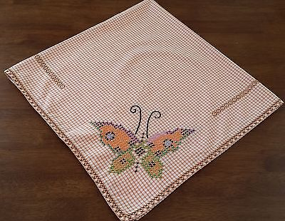 Vintage 1960s ORANGE WHITE Gingham BUTTERFLY Cross Stitch Picnic Tablecloth