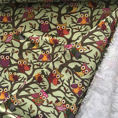 50x150cm Cotton Canvas Fabric DIY Craft Material Color Owls Green Base F1213b S