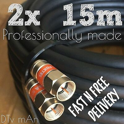 2x15m Foxtel Approved High Quality Black RG6 Cable, Satellite & Antenna Pay Tv