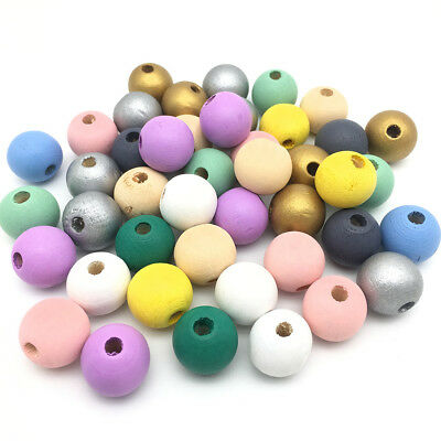 50Pcs Round Painted Natural Wood Spacer Beads DIY Teething Baby Jewelry Making