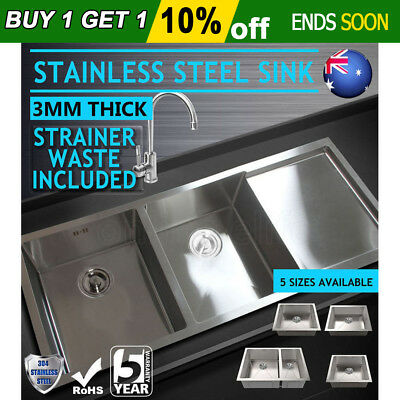 Stainless Steel Kitchen Sink Bowl Under/Topmount Laundry Handmade 5 Sizes AU