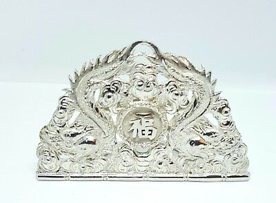 Antique Double Dragon Chinese Silver Menu Holder Scotish Hallmarks