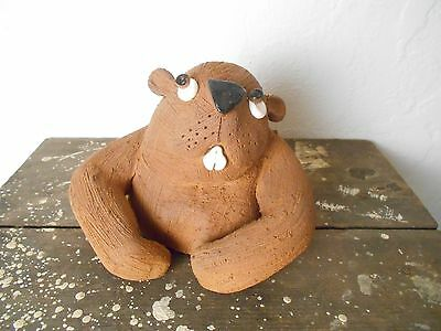 Pottery Red Clay Groundhog Figure Yard Sculpture Art - Groundhog Day