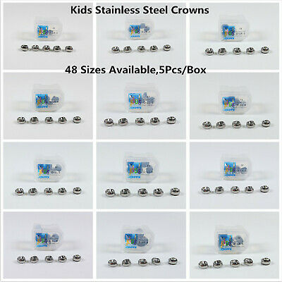 5Pc Dental Kids Primary Molar Crowns Stainless Steel Preformed Temporary 48 Size
