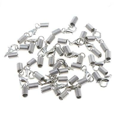 20Pcs Silver Spring Clasp Cord Ends Crimp with Lobster Clasp Jewelry Making