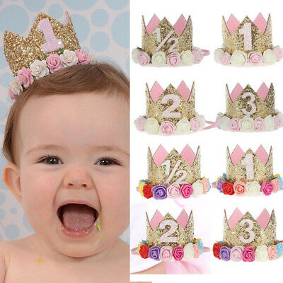 IK- Baby Girl Crown Letter Shiny Sequins Flower Headwear Birthday Headband Novel