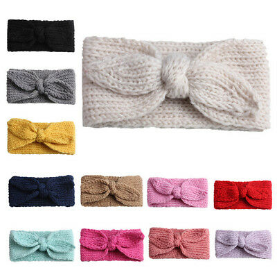 Baby Toddler Kids Girl Knit Bow Headband Hair Band Headwear Head Wrap Cotton