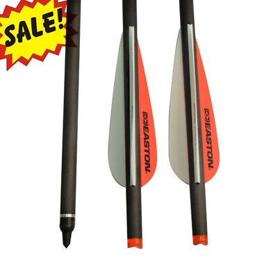 """20 inch Crossbow Bolts Carbon Hunting Arrows 3.8"""" Easton Vanes 100 Grain Points"""